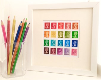 Colorful Wall Art - Rainbow Art - Pop Art - Colorful Art - Postage Stamp Art - Stamp Collection - Happy Art - Office Decor - Vintage Stamps