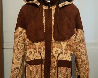 1990s Hooded Suede Patterned surf coat Large