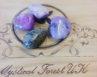 Charoite, Charoite Tumble Stone, Transformation, Inspirational, Creativity, Reiki charged Stone, Mental Health, Healing Crystals