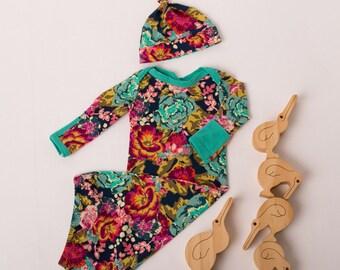 Vintage Floral Newborn Layette Gown