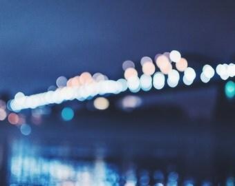 bridge on a cold night, photography, fine art print, bokeh, city photography, canvas
