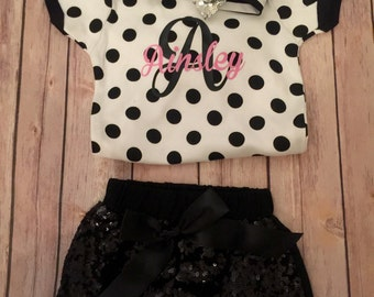Personalized Infant Top/Monogrammed Bodysuit/Polka Dot Bodysuit/Monogram Baby/Monogram Onesie/