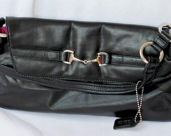 Small Black Leather Clutch Handbag by DENTS