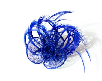 Blue Fascinator 2 in1 Hair Clip and Brooch