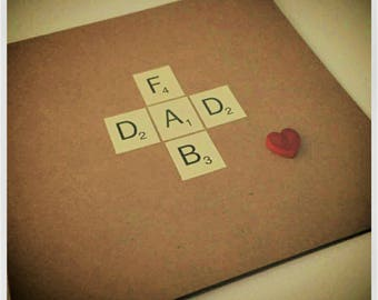 Father's Day Card, Fathers Day, Dad, Fab Dad, Scrabble Letters, Pop, Da, Daddy, Dada, Handmade in England UK
