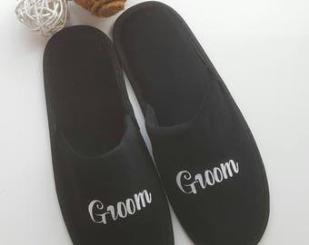 Groom Slippers, Groomsmen Gift, Hubby Slippers, Mr Slippers, Wedding Slippers