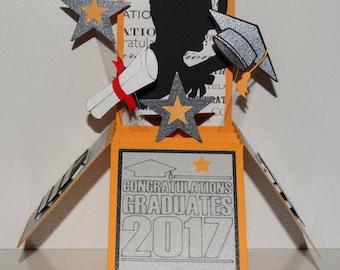 Graduation 2017, handmade 3D pop up greeting card, yellow