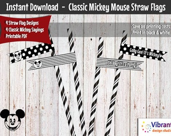 Classic Mickey Straw Flags / Cupcake Toppers (Instant Download), Mickey Mouse Party Decorations, Mickey Cupcake Toppers, Mickey Party Ideas