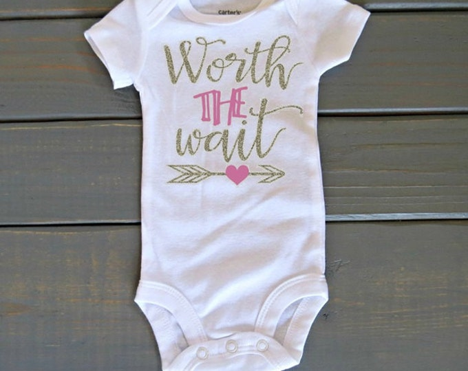 Worth The Wait Bodysuit, Newborn Bodysuit, Baby Girls' Top, Bring Home Outfit, Baby Shower Gift