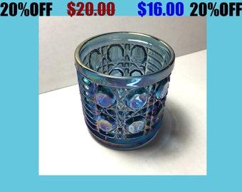 Blue Carnival Glass Sugar Bowl Indiana Windsor Iridescent Vintage