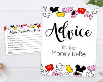 Advice For The Mom To Be   Disney Theme Baby Shower Advice Cards