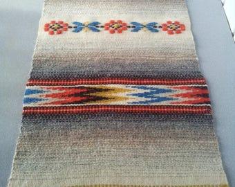 Vintage sweden wool hand woven tapestry,tablerunner.Home decor.1980's