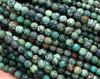 """Wholesale Natural Blue Green Africa Turquoise Round Loose Stone Beads 6mm-12mm Fit Jewelry DIY Necklaces or Bracelets 16"""" 04275"""