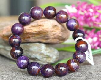Natural Genuine Purple Sugilite Stretch Finish Bracelet Round Big beads スギライト 12.5mm 03759