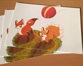 Fox cubs playing print A5 animal original cute artwork