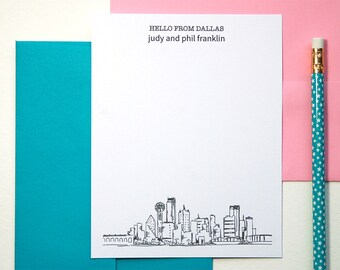 Couples Stationery Set, Dallas Skyline Art, Wedding Thank You Cards, Bridal Shower Gift, Dallas Texas, Personalized Stationary Set of 12