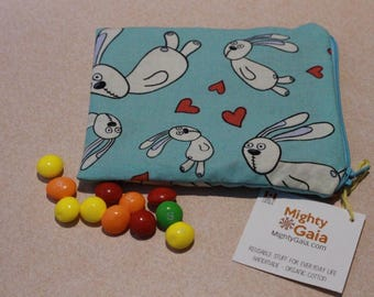 Mini Organic snack bag | Rabbits Organic reusable bag | Organic fabric | Snack bag with zipper | make up bag | makeup pouch