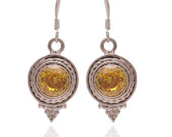 925 Sterling Silver Earrings / Natural Citrine Earrings / November Birthstone Jewelry / Dangle Earrings Jewelry / Faceted Citrine Earrings