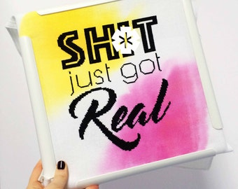 Sh*t Just Got Real // Modern cross stitch kit with choice of hand-painted fabric // Alternative Wedding Gift, Inspirational Quote, Evenweave