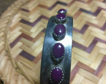 Sterling Cuff Bracelet with Purple Stones