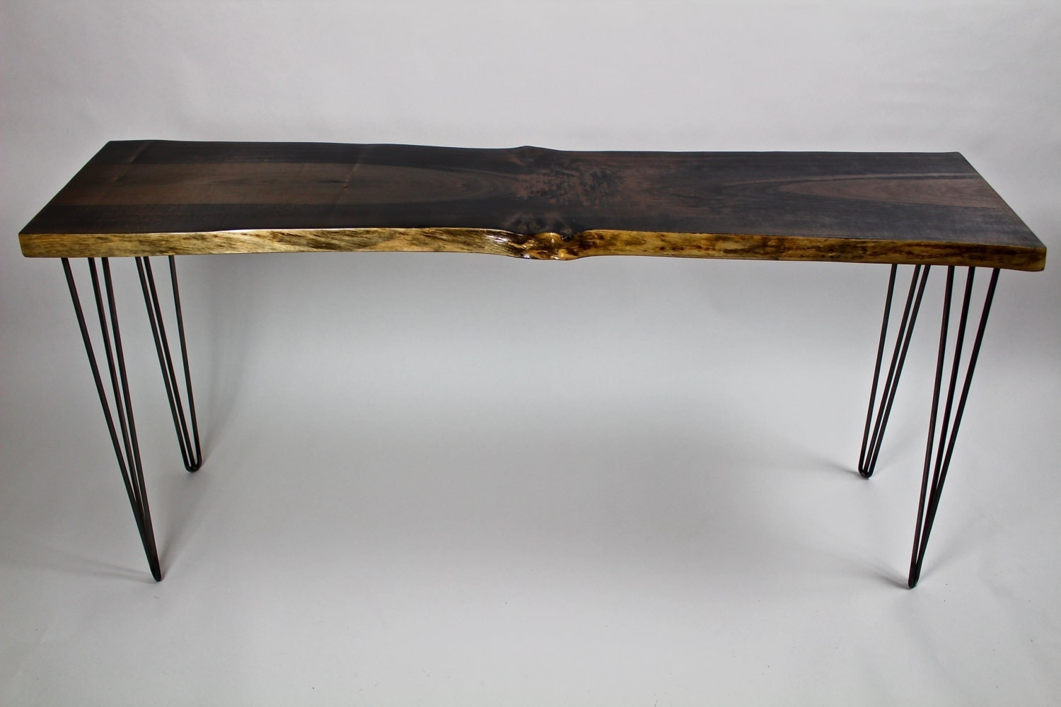 Live Edge Foyer Table : Ebonized maple entryway table live edge