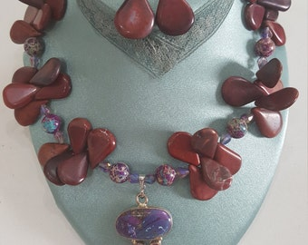 Rose and Plum with speckled beads necklace & Earing set Made in Nola La
