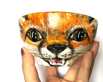 FOX: Woodland Creatures Collection, Hand-painted Porcelain Decorative Art Bowl