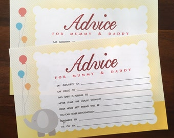 Baby Advice Card, Baby Shower Games, Baby Shower Advice, Baby Boy Advice Card, Baby Girl Advice Card, Baby Shower Entertainment, Mum and Dad