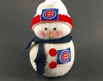 Chicago Cubs,Chicago Cubs Collectible,Chicago Cubs Decor,Chicago Cubs Accessory,Chicago Cubs gift,Gift for Chicago Cubs fan,sock snowman