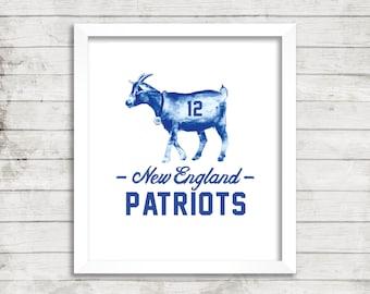 Tom Brady, GOAT, New England Patriots, Super Bowl LI, Champions, Football, Gronk, Amendola, Blount, Edelman, White, Belichick, Print, 5x