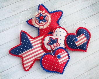 Independence day decor 4th of July Stars and stripes American decoration Patriotic stars Red blue hearts Felt holiday ornaments Summer decor