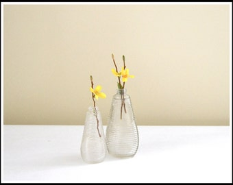 Two (2) Vintage Clear Glass Bottles - 1950s Glass Bottle