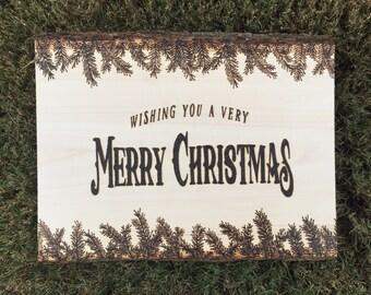 SALE***Wood Burned Tree Slice - Wishing You A Very Merry Christmas
