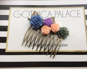 Wedding hair slide - boho hair comb - alt girl hair slide - bridal hair slide - gothica palace - rose hair comb