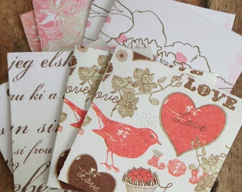 Love Note Card Sets/Romantic Notecards with Envelopes and Seals/3 Inch Note Cards/Mini Envelopes and Seals/Blank Notecards/Set of 8