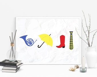 ON SALE How I Met Your Mother - Blue French Horn, Yellow Umbrella, Red Cowboy Boots, Ducky Tie Print
