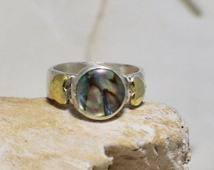 Handmade Fine Silver Ring with Bezel Set Paua Shell and Gold Plated Hearts