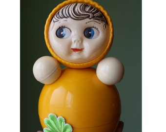 Very rare Middle Soviet Roly-Poly.  Soviet Roly-Poly. Nevalyashka  USSR 50's. Soviet musical doll. Vintage. roly poly ding. 音乐的玩具圆滚滚