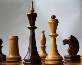 Big Soviet chess set, large wooden chess set USSR, vintage tournament chess set.