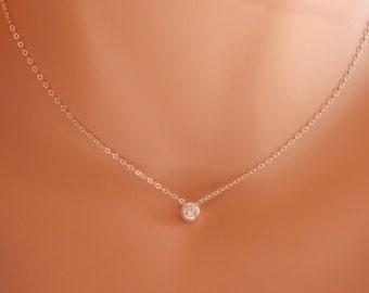 Diamond Necklace April birthstone diamond choker dainty diamond necklace delicate necklace bridesmaid gift tiny CZ necklace minimalist neckl