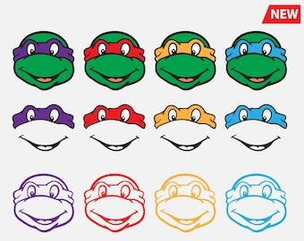 Ninja Turtle Svg Ninja Head Mask Svg Silhouette Clip art Design svg cut files Disney cricut cutting file vector designs vinyl cutter Dxf Png