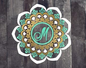 3 Color Mandala, 3 Color Monogram Mandala, Monogram Mandala Decal, Lily Pulitzer Monogram Mandala,Mandala Car Decal, Mandala YETI Decal