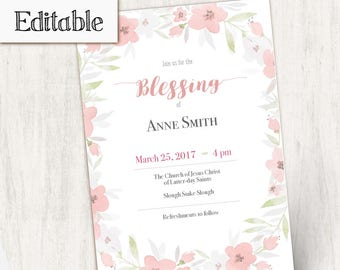 Blessing Invitation Girl Editable file, Editable PDF, Girl Invitation flowers, No Photo Needed, Invitation Template, Blessing LDS