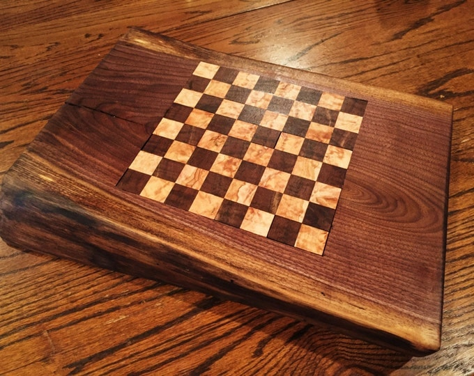 Live Edge Walnut and Maple Chess / Checkers Board with Checkers and Chess Pieces