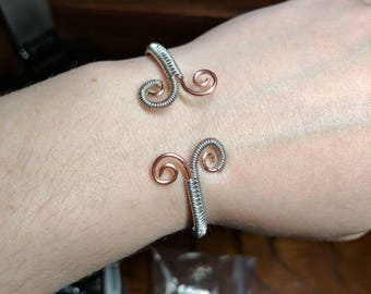 Woven Stainless Steel Over Copper Cuff Bracelet