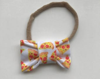 Fabric Bow // Pizza Bow // Baby Headband // Baby Bow // Headband // Clip