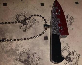 Bloody Knife Glitter Necklace
