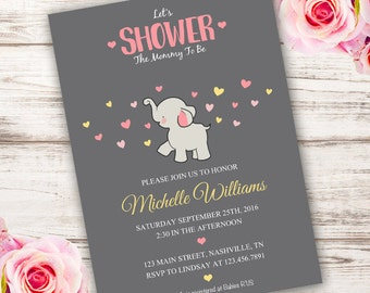 Elephant Baby Shower Invitation, INSTANT DOWNLOAD baby shower Invitation, Elephant, Baby Shower Invitation, Edit with Adobe Reader