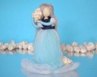Waldorf doll, Wool doll, Magic wool, Stand up fairy, Blue fairy, Seashell doll, Waldorf nature table, Felted fairy, Needle felt Waldorf