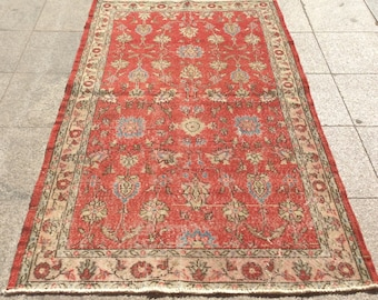 Red floral handwoven turkish rug vintage rug red turkish rug  6 x 4